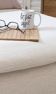 IKEA Soderhamn Armless Chaise covered in Luna Flax Linen Slipcover with Armrest Tray by Comfort Works