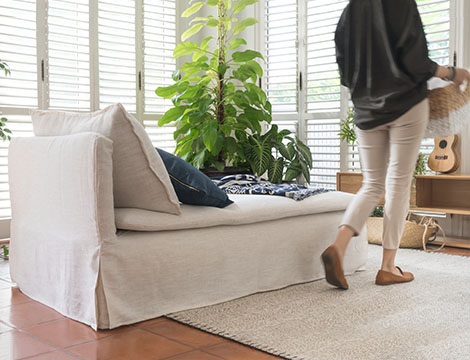 IKEA Soderhamn Armless Chaise covered in Luna Flax Linen Washable Slipcover by Comfort Works