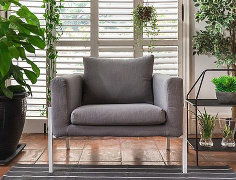 IKEA Koarp Armchair Sofa Covered in Luna Grey Linen Slipcover by Comfort Works