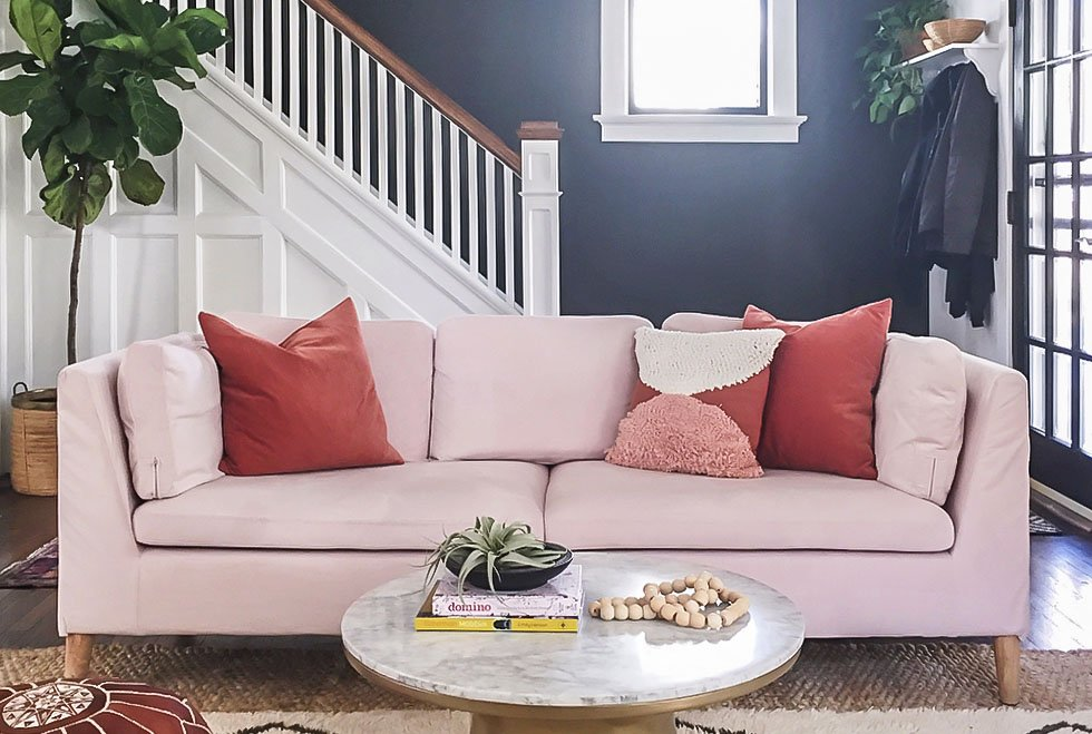 IKEA Stockholm Sofa covered in Rouge Blush velvet slipcover by Comfort Works