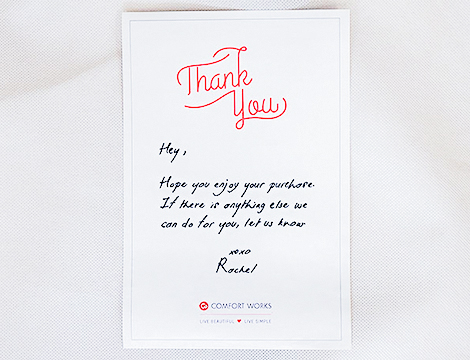thank you card Comfort Works