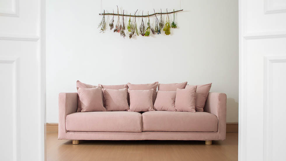 IKEA Stockholm 2017 3 Seater Sofa Covered in Madison Rose Cotton Blends Slipcover by Comfort Works