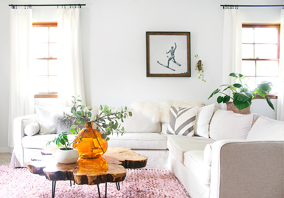 Comfort Works handmade custom linen slipcover for a Karlstad corner sofa
