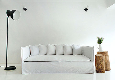 Custom sofa cover / slipcover in Ghost Sofa style, ala Gervasoni, by Comfort Works
