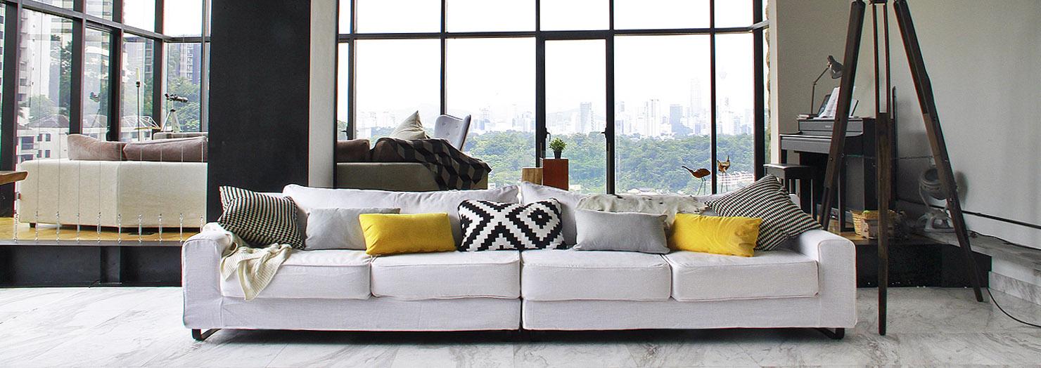 Custom Sofa Slipcover in Industrial Apartment