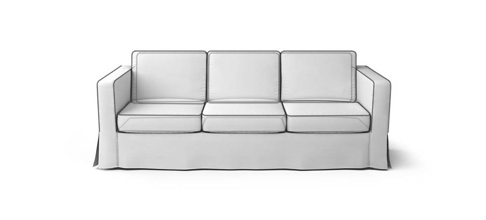Square Arm Skirted Sofa Piping